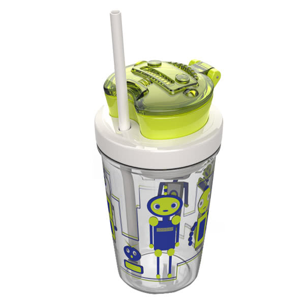 Snack Tumbler vaikiška gertuvė, žalia su robotais
